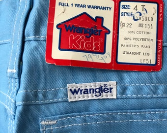 vintage wrangler toddler boy's baby blue painter pants straight leg jeans size 4t deadstock NWT 70s made in USA