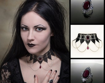 Amethyst purple gothic necklace choker and ring set - SINISTRA choker and matching ornate filigree gothic ring