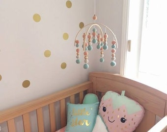 Peach Mint Gold Felt Ball Baby Mobile