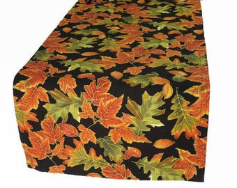 "Fall Leaves Table Runner, 36"" or 48"" Length, Thanksgiving Table Runner, Autumn Table Runner, Fall Leaves Table Linens, Fall Table Runner"