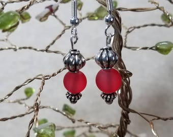 Frosted Red Glass Earrings