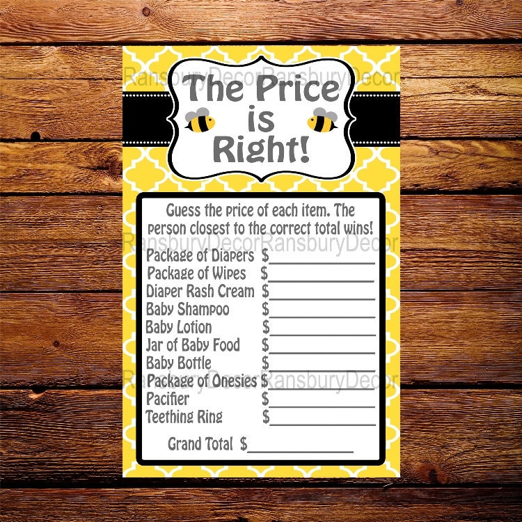 The Price Is Right Baby Shower Game Bee Theme