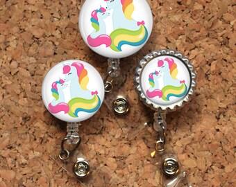 Unicorn Badge Reel, Mother and Baby Unicorn,  Lanyard, Retractable ID Name Holder, Nurse Gift, Pediatric Badge Reel, Nicu, MBU, Mylar