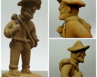 Fisherman Sculpture // Vintage Clay Figurine