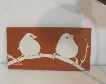 Nice Vintage Maruska Stretched Silkscreen Print of Winter Birds