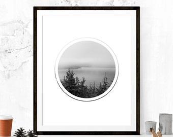 Landscape Wall Print, Black and White Print, Circle Art Print, Wall Decor, Apartment Art, Geometric Art, Minimalist Art Print, Printable Art