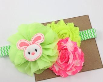 Neon Pink Easter Headband Easter Bunny Headband Neon Green Spring Headband Pink Shabby Flower Headband Chevron Photo Prop