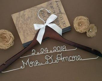 Personalized Wedding Dress Hanger w/NAME & DATE, Bridal Hanger, Bridal Shower, Wedding Gift, Graduation Gift. Pick ur own ribbon color