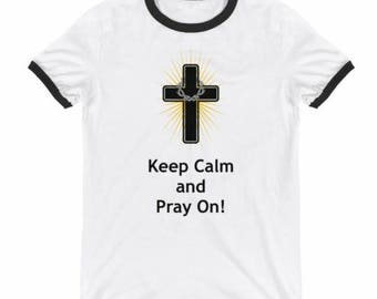 Keep Calm and Pray on  - short sleeve ringer tees (black)