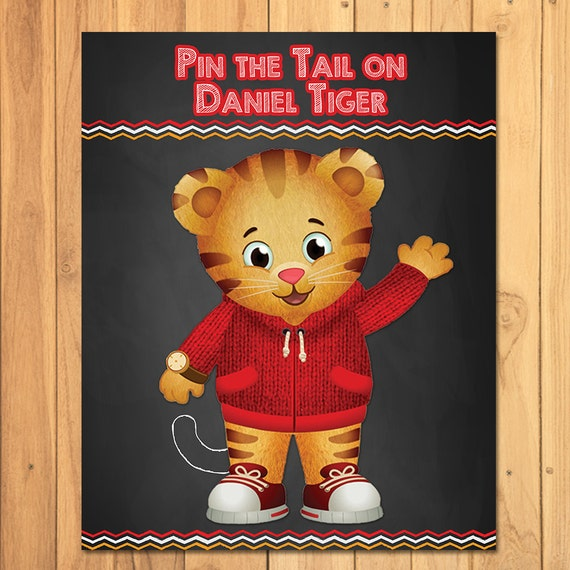 Pin the Tail on Daniel Tiger Chalkboard Party Game Daniel