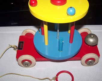 Vintage 1960's Brio Carousel Pull Toy
