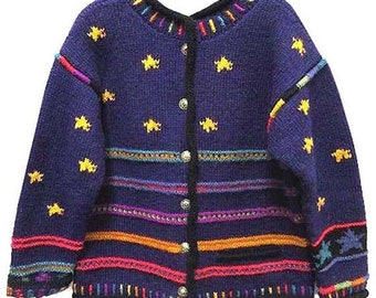 Vintage Hand Knit Sweater by Newari of Nepal with Star Designs - Fits Size Medium