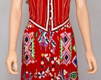 Vintage 1960's 70's Women's Buzzz Buzzz Ric Rac Mexican Aztec Flower HiPPiE BoHo Prairie Couture Dress Size S M