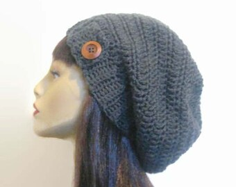 Crochet Slouch Hat with Button Gray Slouchy Hat Gray knit Beanie Slouchy Beanie Charcoal  Beanie crochet women's hat Gray Beanie Crochet Hat