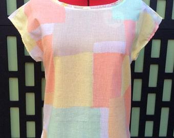 T-Shirt Blouse Top- Contrast Print: Color Block Print/ Vintage Floral; Sherbet Pastels/Yellows, XS, cotton