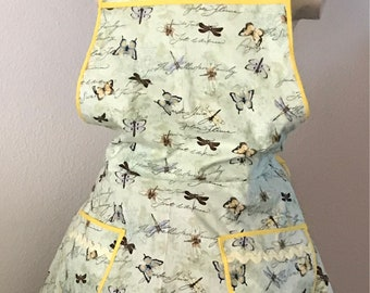 Nature Print, Butterfly full apron, cooking apron, baking apron