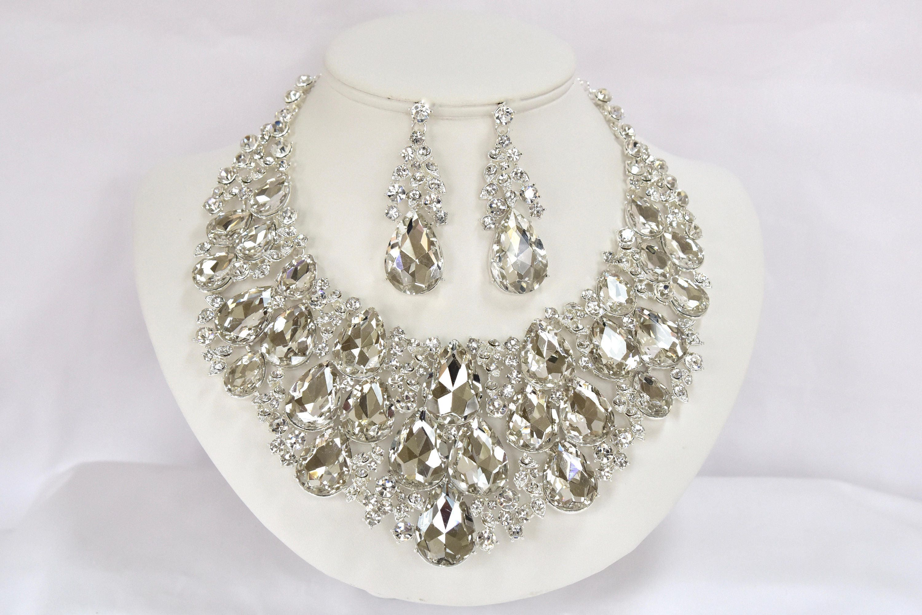 Crystal Bridal Jewelry Set Vintage Inspired Wedding Jewelry Set
