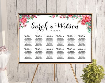 Red Floral Find your Seat Chart, Printable Wedding Seating Chart, Wedding Seating, Wedding Sign, Wedding Seating Board wd104 WC87