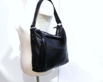 Black leather slouchy bag with tassel messenger bag