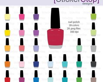 Nail Polish Digital Clipart - Instant download PNG files