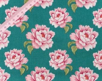 Tilda Peony Teal Fabric  / Sewingbird Collection - Large Fat Quarter