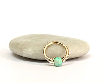 Tragus jewelry ring, opal tragus hoop, tragus earring, gold tragus hoop, gold tragus earrings, opal earring, opal tragus, tragus piercing