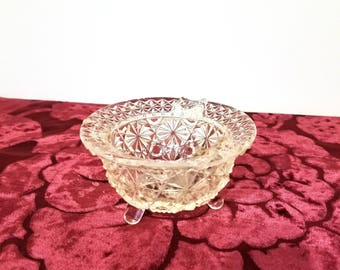 Vintage Lead Crystal Diamond Cut Footed Ashtray one Chipped Edge presented by Donellensvintage