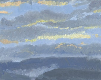 Sunset with fog: Original Oil Painting Plein Air Landscape