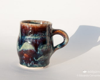 "3.7"" (9.5cm) Handmade Wheel Thrown Cosmic Supernova Mug"