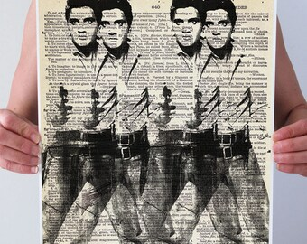 Warhol DOUBLE ELVIS Dictionary Art Print Poster Gun Cowboy Western Black White Wall Decor Art Rocker Vintage Book Page