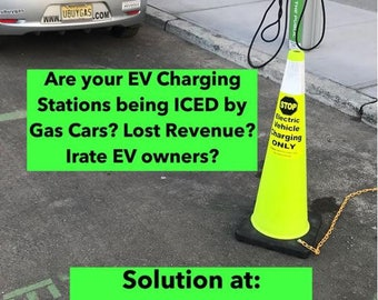 Two EVcone Labels - Electric Vehicle Charging Only Parking Cones - Highly Reflective - EVetiquette EV Traffic Safety Tesla J1772 CHAdeMO