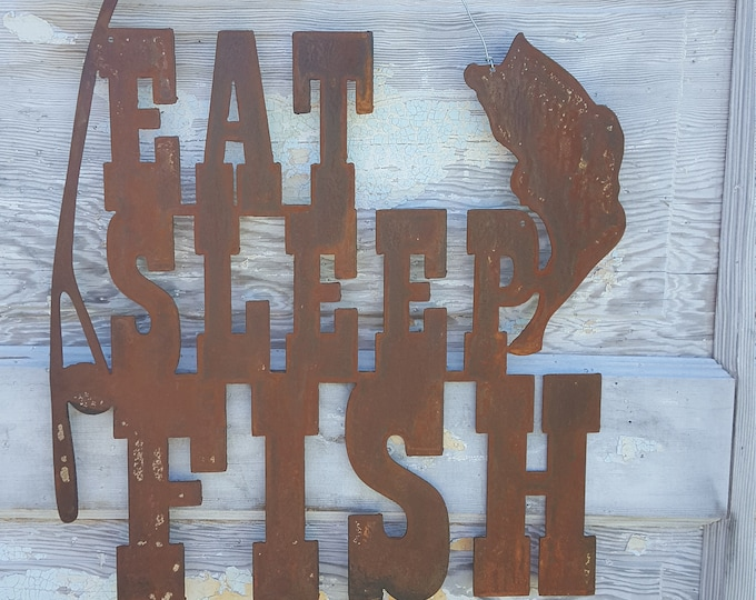 Eat Sleep FISH, fishing Decor, Rustic Farmhouse style Decor, Country Style, Fixer Upper, Mancave Wall Art, Woodland Nursery, Boys Room, Bass