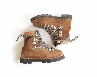 Vintage Womens 5.5 Fascinators Hiking Boots Boot Booties Bootie Hiker Italian Brown Leather Mountaineering Military Combat Work Boot 80s 90s