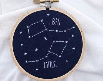 Handmade Constellation Embroidery Big Dipper Little Dipper Zodiac Astrological Sign Cross-Stitch