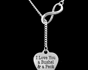 Gift For Her, I Love You A Bushel And A Peck Necklace, Gift For Mother Daughter Wife Girlfriend Y Infinity Lariat Necklace