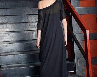 Black maxi dress, Black long dress, sheer shoulders dress, long dress, loose dress, short sleeved dress - UM-085-COCH