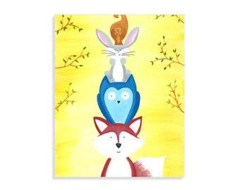 Woodland Nursery Print - Forest Animals Decor - Forest Friends - Fox, Owl, Bunny, & Squirrel