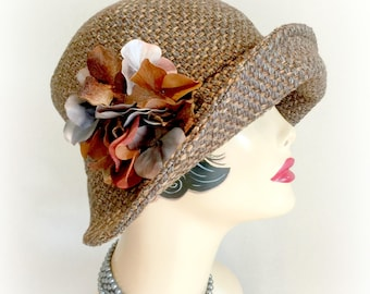 Winter Cloche - Brown Fabric Hat - Wide Brim Autumnal Hat - Women's Handmade Hats - Gray Brown Cloche - Hydrangea Brooch - Handmade Hats USA