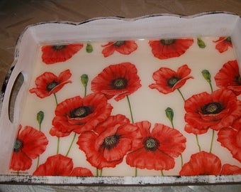 """Wood tray serving collection """"poppies"""""""