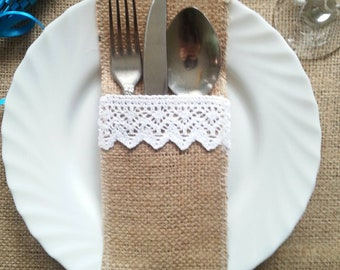 Rustic Burlap and Lace Silverware Holders, Set of 30
