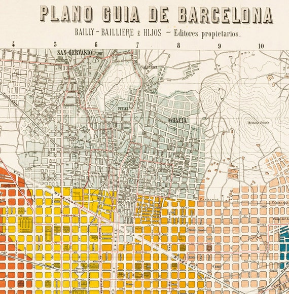 Old Map of Barcelona Spain Catalua 1910 Vintage map