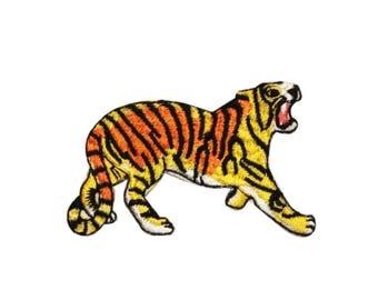 ID 0659B Circus Tiger Roaring Patch Bengal Zoo Cat Embroidered Iron On Applique