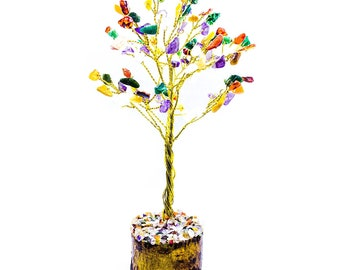 Mix Chakra Gemstone Tree Wire Wrapped sculpture Gift Bonsai Fortune Good Luck Tree for Energy Wealth Prosperity Size 7-8 Inch Approx