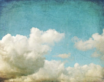 """Cloud wall art, nature photography, blue white wall art,  bedroom wall art, white cumulus clouds, blue sky art print  """"Up and Away"""""""