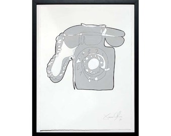 PHONE, Medium (Grey): Hand Painted Work on Paper Framed and Signed Edition of 50 Jason Oliva Art Painting Print Picture Gift Telephone