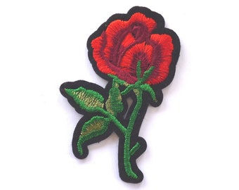 Red Rose Patch, Red Rose Iron on Patch, Rose Appliqué, Red Flower Patch, 75mm Tall