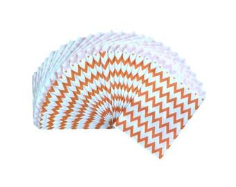 Orange Chevron Stripe Paper Treat Bags, Party Favor Bags, Party Supplies