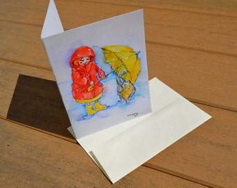 """Adorable GREETING CARD-5x7""""-Umbrella Girl with a Kitty"""