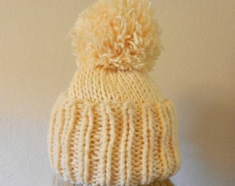 Knit Hat Winter Oversized Beanie with slouchy pom pom in cream white or choice of color