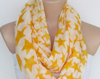 Infinity Loop Scarf With Yellow Stars-Circle Scarf -Shawl Scarf-Neckwarmer-Cowl Scarf-Cotton Scarf-Tube Scarf-New Season Accessories